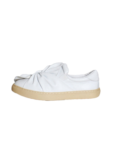 white PU leather twisted sneakers *pre-order*