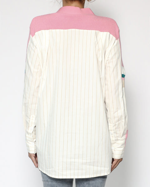 pink & ivory stripes with beige stripes shirt contrast cardigan *pre-order*