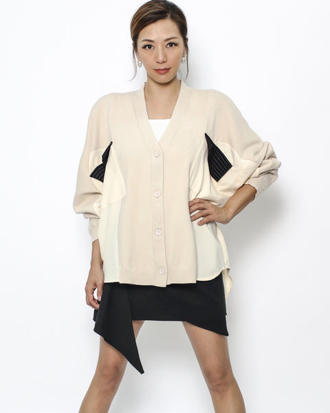 beige knitted & shirt cardigan