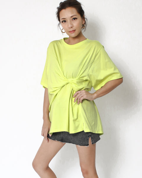 neon yellow twisted front tee