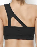 black cutout strap one shoulder sports bra *pre-order*