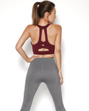 burgundy strappy back sports bra *pre-order*