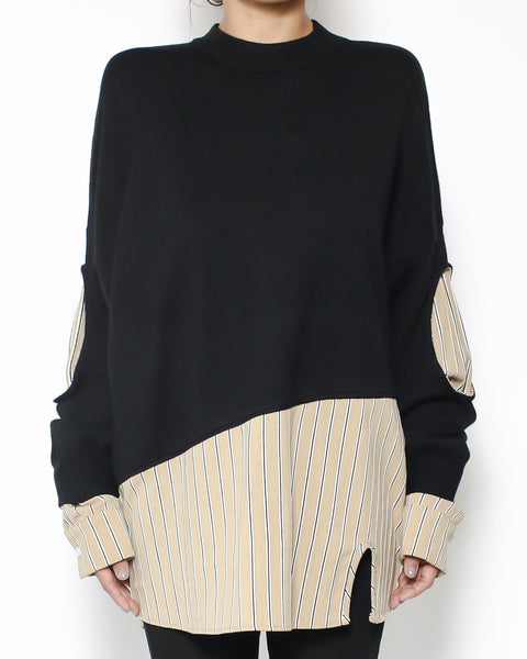 black knitted with beige shirt stripes top *pre-order*