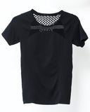 black caged stretch sporty tee