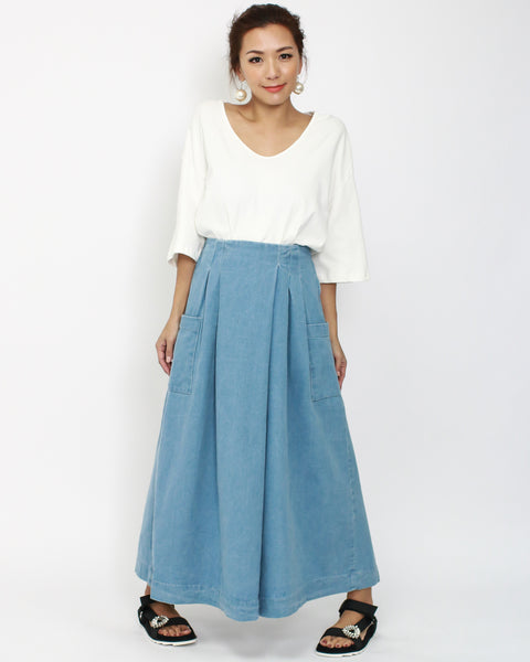 denim wide legs pants *pre-order*