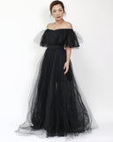 black off shoulders polka dots mesh & net longline dress *pre-order*