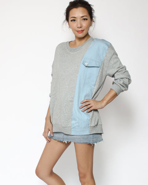 grey & denim panel sweatshirt