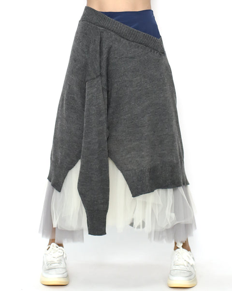 grey knitted & ivory mesh longline skirt
