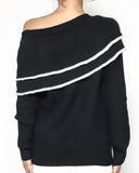 black knitted off shoulders top *pre-order*