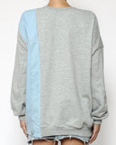 grey & denim panel sweatshirt *pre-order*