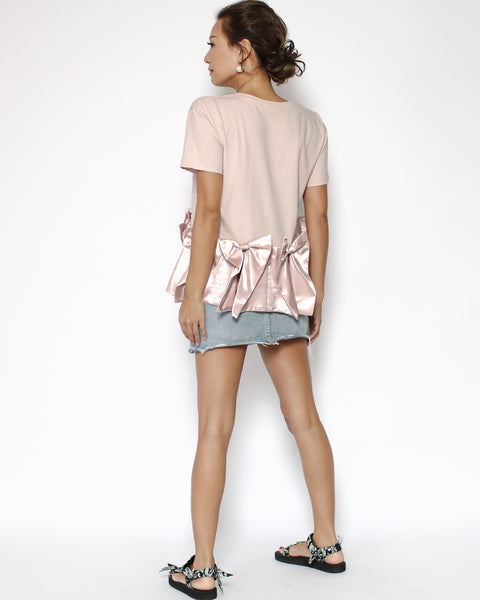 pink tee with satin bows hem