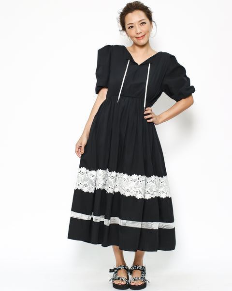 black & ivory lace linen dress