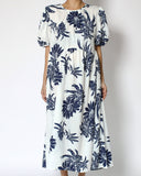 white & navy tropical printed slinky longline dress