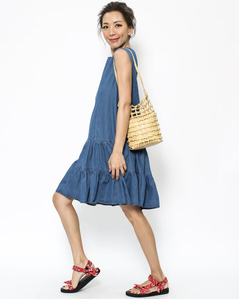denim frill hem dress *pre-order*