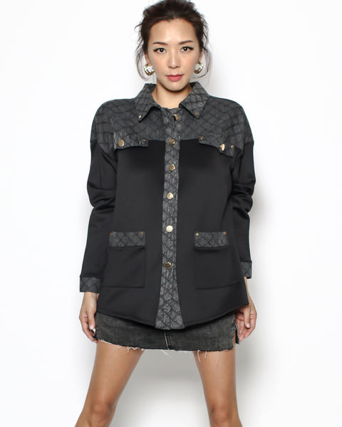 black neoprene & bomber denim shirt