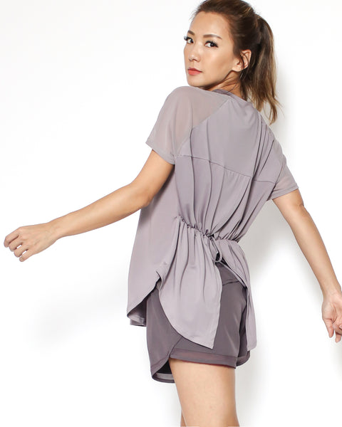 purple mesh shoulders ruched open back sporty tee *pre-order*
