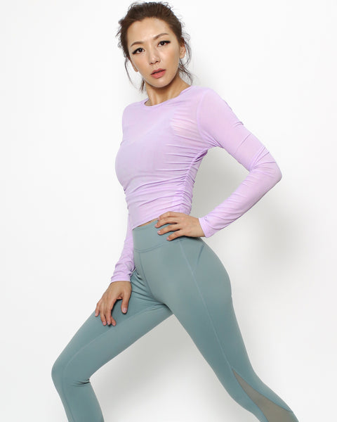 lilac ruched sides sports cropped top *pre-order*