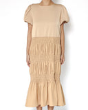 champagne beige slinky ruched longline dress