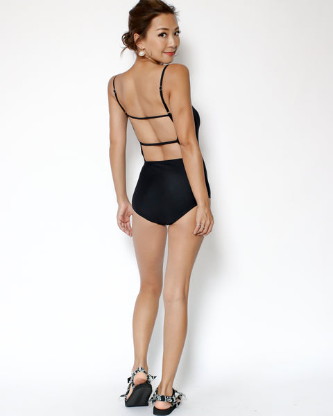 black strappy back one piece swimsuit *pre-order*