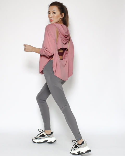 pink cutout back sports hoodie top *pre-order*