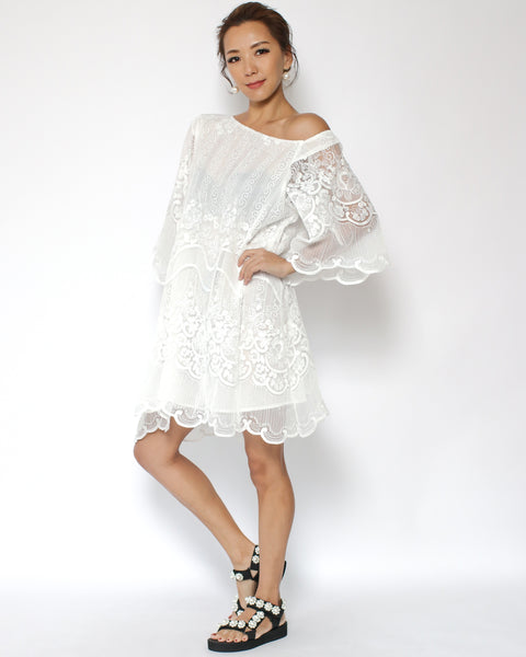 ivory lace off shoulder dress