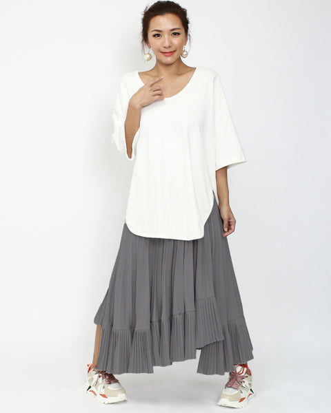 dark grey chiffon pleats asymmetric hem skirt *pre-order*