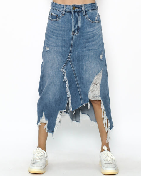 blue denim ripped midi skirt *pre-order*