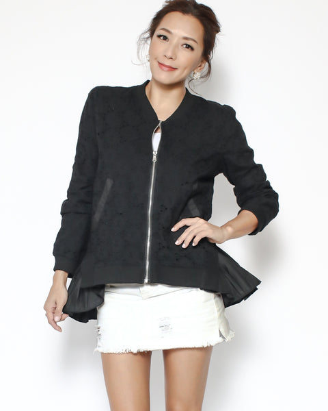 black crochet with shirt ruffles hem jacket