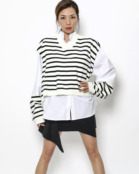 ivory black stripes knitted & shirt top