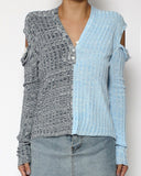grey & blue cutout sleeves knitted top *pre-order*