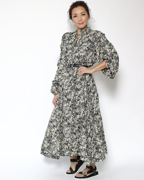 black floral chiffon dress *pre-order*