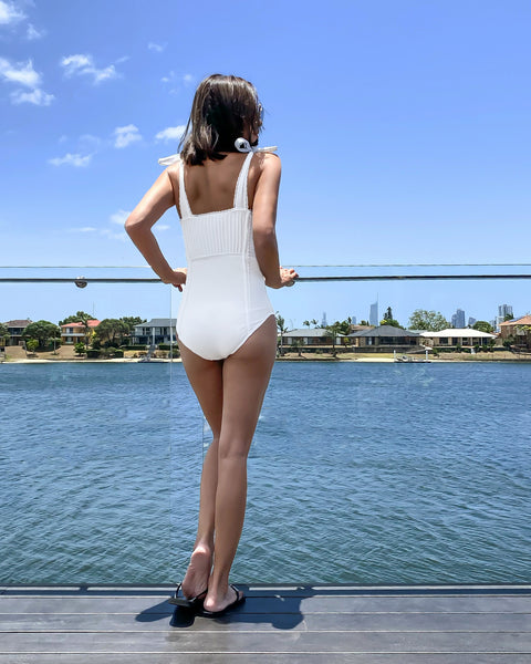 ivory lace tie-up shoulders one piece swimsuit *pre-order*