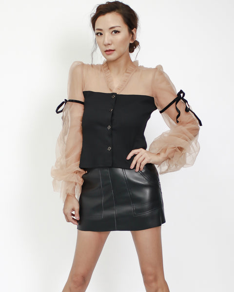 Black top with nude mesh ruched sleeves & tie-up *pre-order*
