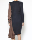 navy knitted & brown satin pleats dress