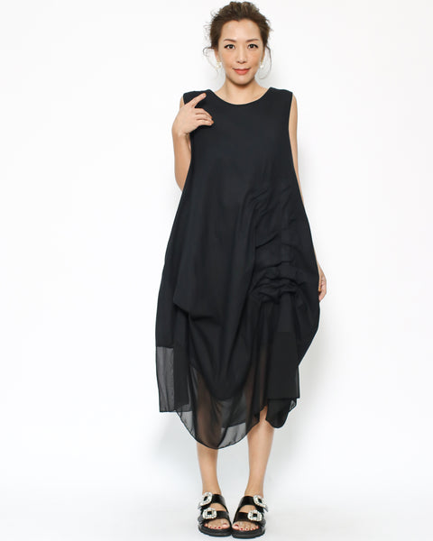 black linen & mesh ruched asymmetric hem dress *pre-order*