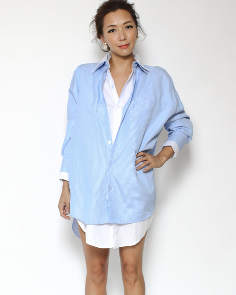 blue stripes & white layer shirt *pre-order*