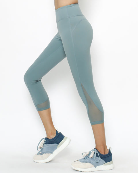 turquoise mesh hem sports calf leggings *pre-order*