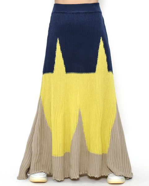 navy yellow & beige knitted flare dress