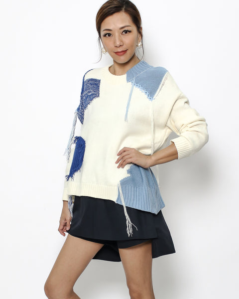 ivory & blue navy knitted top *pre-order*