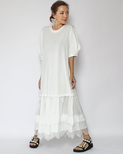 ivory tee with chiffon lace hem longline dress