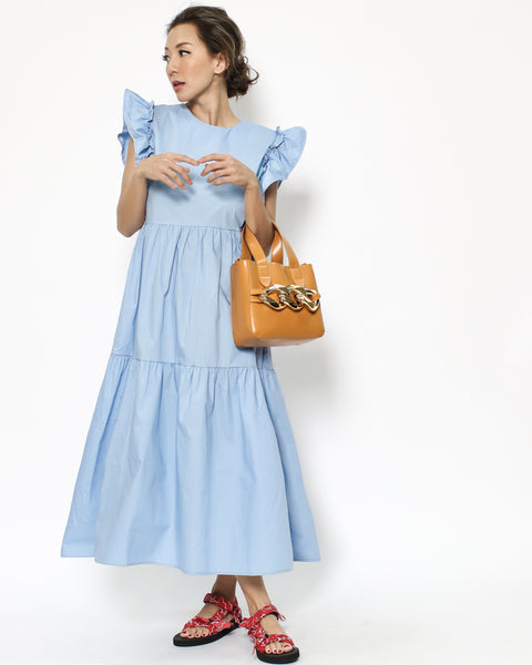 blue ruffles sleeves shirt dress *pre-order*