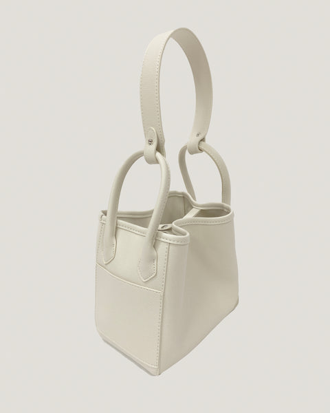 ivory PU leather bucket shoulder bag *pre-order*