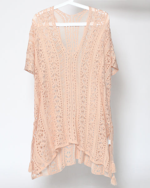 pale pink crochet beach cover-up *pre-order*