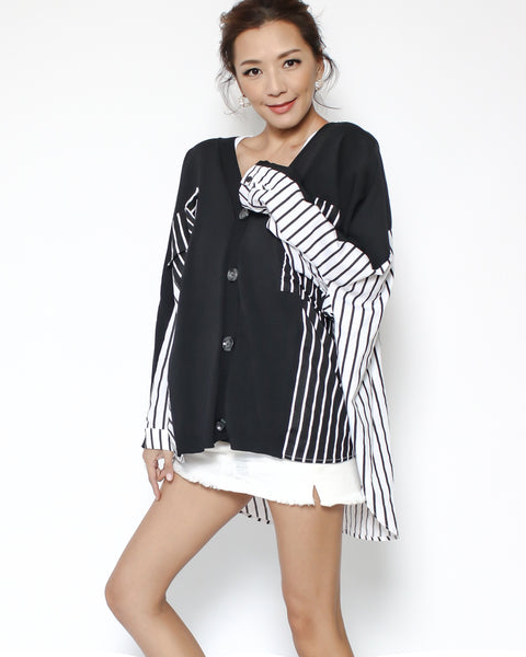 black tee with stripes contrast shirt cardigan