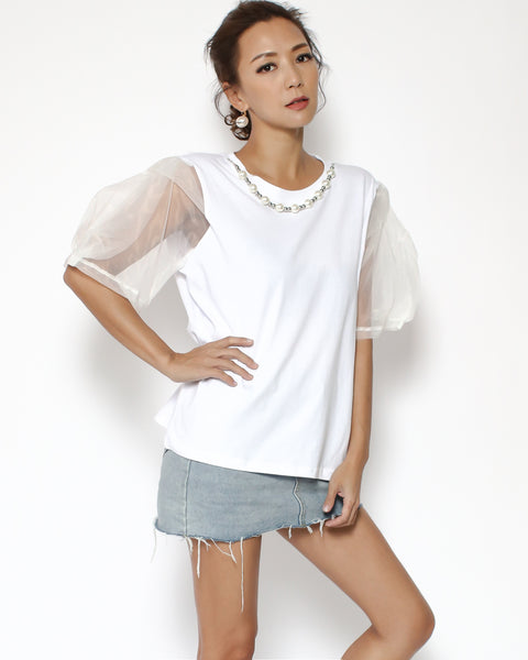 white with pearls & beads neckline & organza sleeves tee