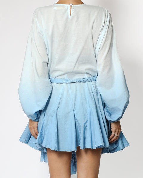 blue ombre frill shirt dress with rope tie-up *pre-order*