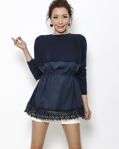 navy knitted & shirt crochet hem top