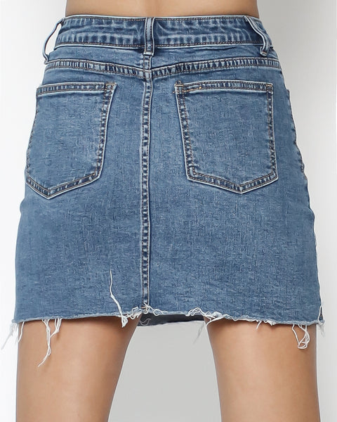 washed denim mini skirt *pre-order*