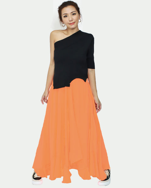 neon orange chiffon asymmetric hem skirt