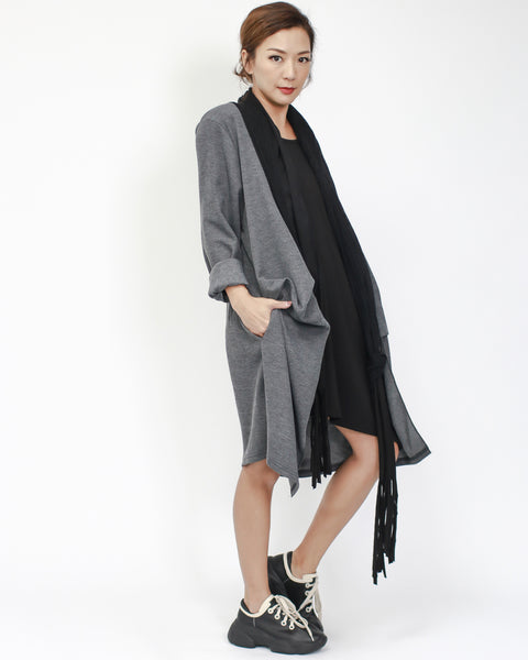 grey with black & scarf details layer dress